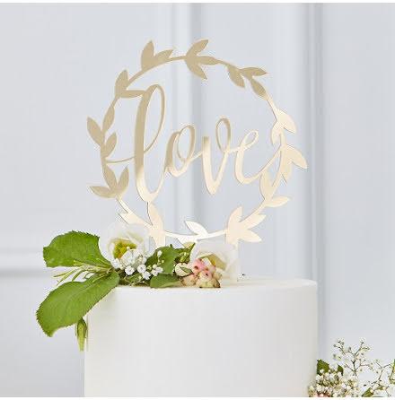 Tårtdekoration Love - Gold wedding