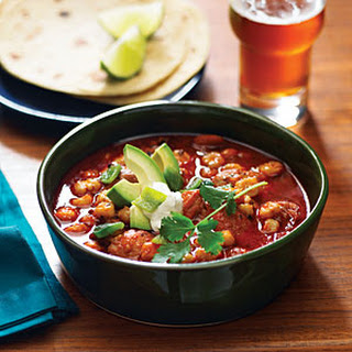 Speedy Chicken Posole with Avocado and Lime
