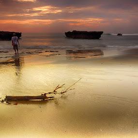 Fisherman at echo beach by Sam Moshavi - Landscapes Sunsets & Sunrises
