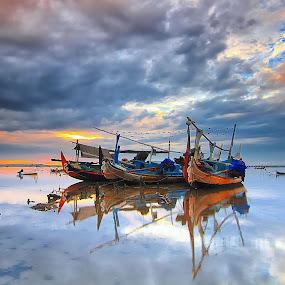 The Tuban Boats by Calvin Go - Transportation Boats ( bali, indonesia, boats, lowtide, sunrise, longexpo )