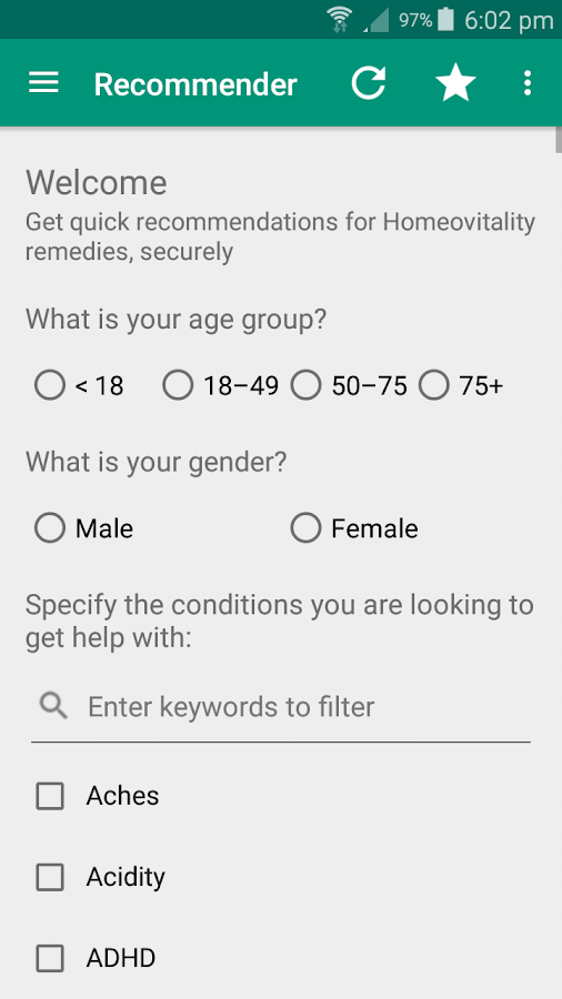 Homeovitality Recommender- screenshot