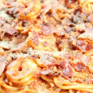 Shrimp Pasta with Red Carbonara Sauce.