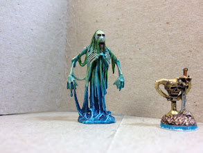 """Photo: My latest Dread Fleet models -- an objective marker and the not-so-aptly-named """"Sea Giant,"""" who is one of the smallest models in the game."""