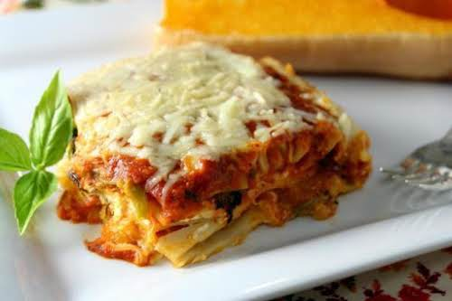 "Roasted Butternut Squash Four Cheese Lasagna ""With every bite of this delicious..."