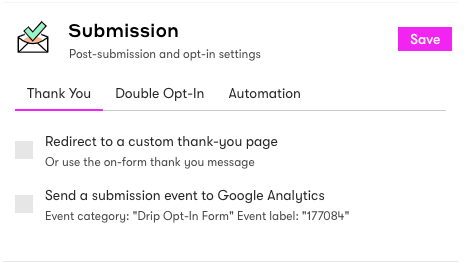 Embedded form submission settings.