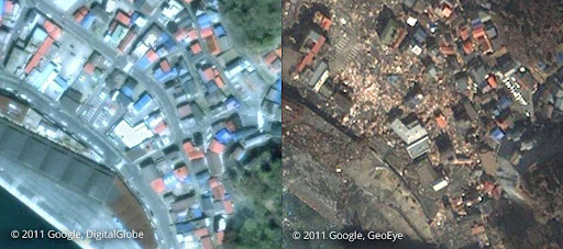 Kamaishi before and after tsunami