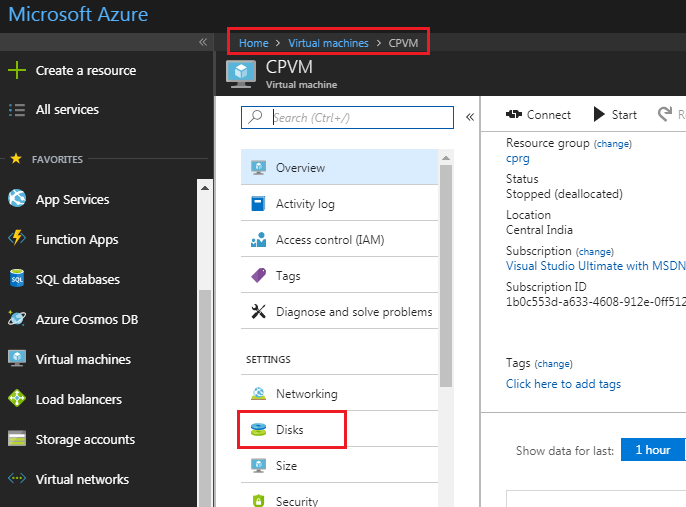 Azure host caching