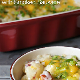 Cheesy Potato Casserole with Smoked Sausage