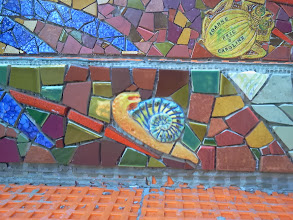 Photo: Detail from top third of the Hidden Garden Steps (16th Avenue, between Kirkham and Lawton streets in San Francisco's Inner Sunset District) as KZ Tile workers finished installing more than 80 pieces of the 148-step ceramic-tile mosaic designed and created by project artists Aileen Barr and Colette Crutcher. For more information about this volunteer-driven community-based project supported by the San Francisco Parks Alliance, the San Francisco Department of Public Works Street Parks Program, and hundreds of individual donors, please visit our website at http://hiddengardensteps.org.