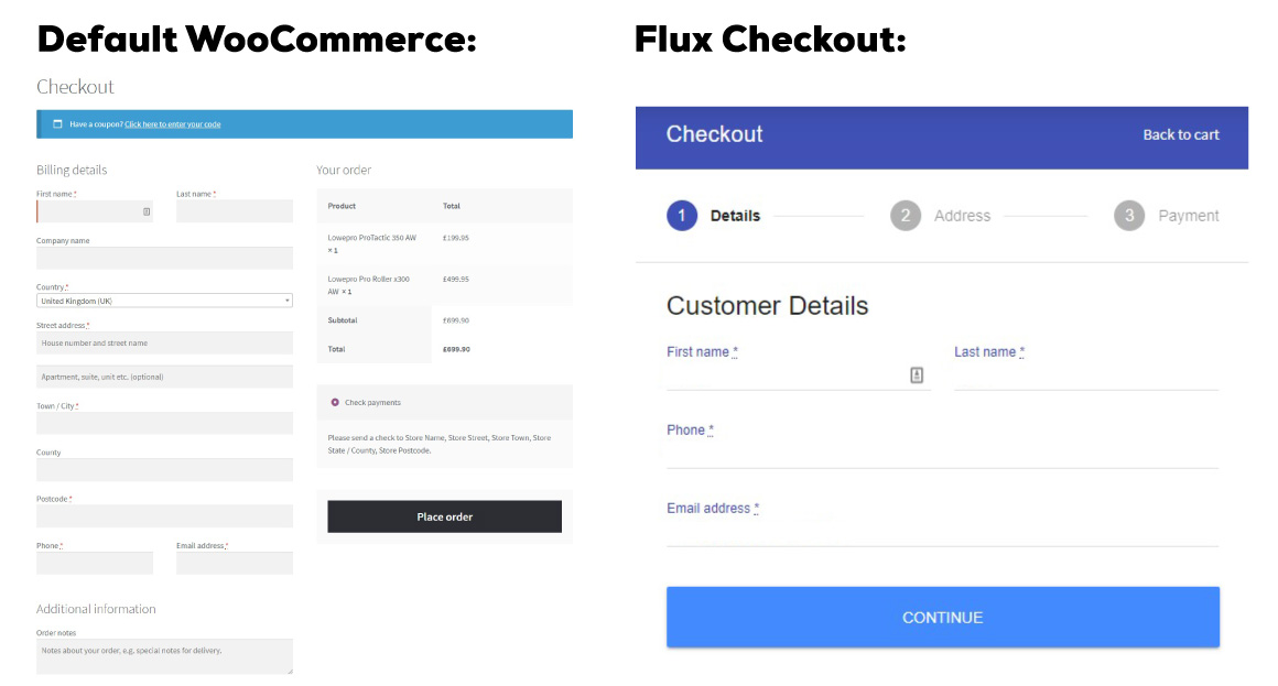 multi-step checkout woocommerce