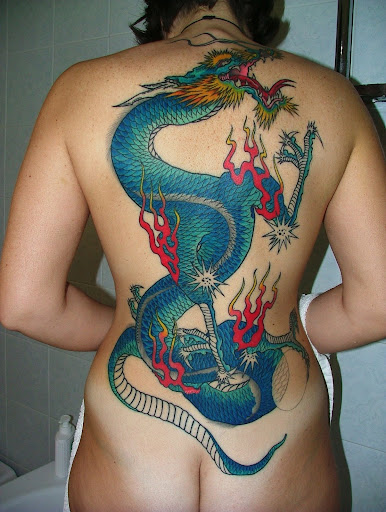 Back Tattoo Dragon in Body Sexy