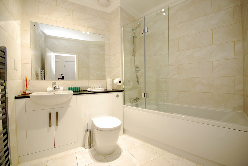 Fully furnished bathroom at Oxford Street Apartment, London