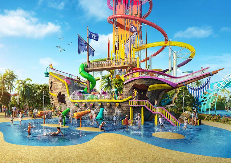 The Pirate Ship waterslides will keep the little ones occupied.