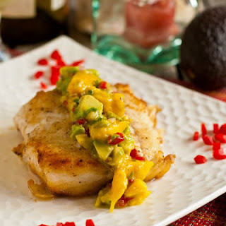 Pan Seared Halibut with Mango-Avocado Salsa