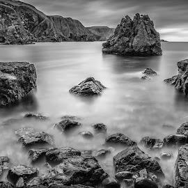 Pettico Wick Scotland by Kim Wilhite - Black & White Landscapes ( pettico wick, scotland, black and white, ocean, long exposure, seascape )