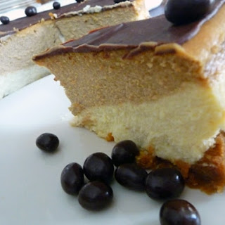 Coffee-and-Espresso Layered Cheesecake.