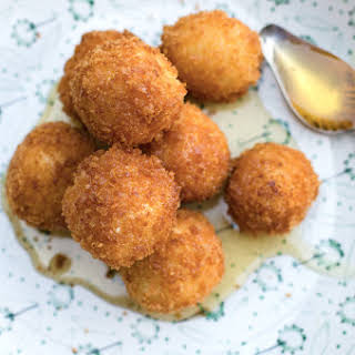 Fried Goat Cheese Balls with Drizzled Honey.