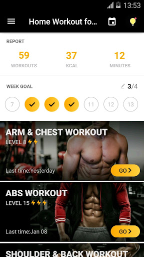 Home Workout for Men - Bodybuilding 1.0.15 screenshots 1