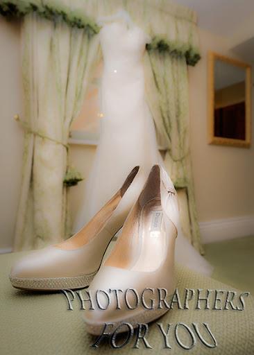 Brides Shoe + Wedding Gown