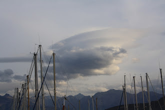 Photo: Lenticular clouds over northern Corsica seen from Calvi harbour.