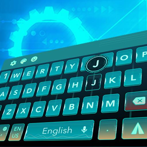 cyan green space future keyboard galaxy tech