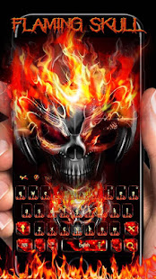 Horror Skull Keyboard Theme With Fire And Burning Emoji Is Here Hell Skulls Wallpaper Designed