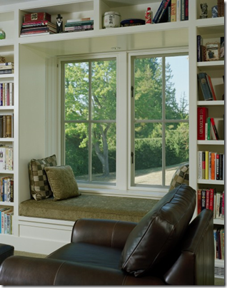 Bookshelves around windows