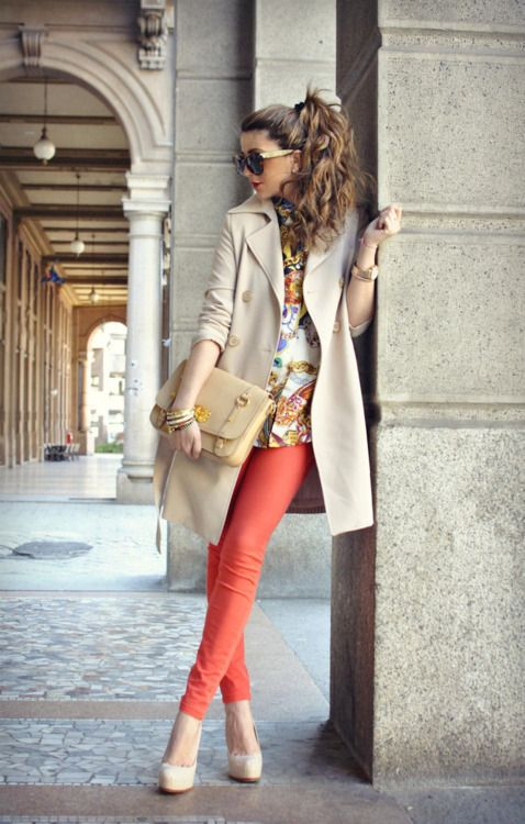 Lovely outfit idea with sand trench coat and coral pants for Light Spring women