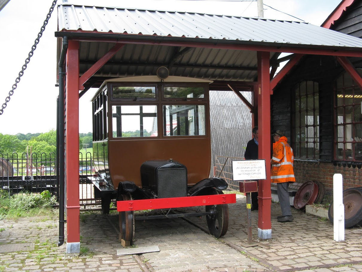 Replica Ford Railmotor arriving at Tenterden