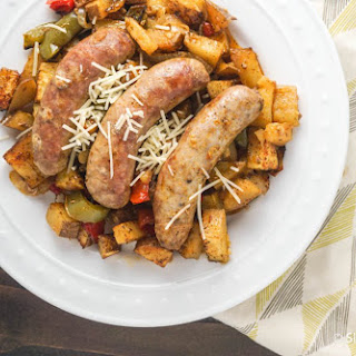 Roasted Italian Sausages with Potatoes, Peppers, and Onions.