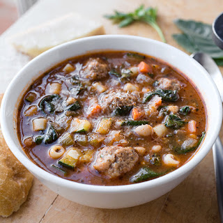 Italian Meatball Minestrone Soup with White Beans.
