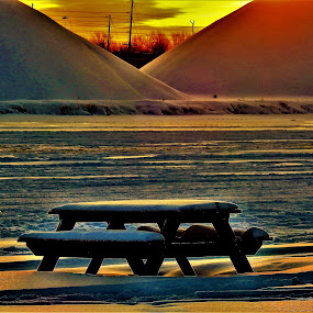 Dawn Shadows by Kathy Woods Booth - City,  Street & Park  City Parks ( orange, park, sunrise, city park, picnic table, shadows )
