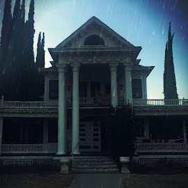 Foreboding Mansion by Margaret Leach Schwab - Buildings & Architecture Homes ( haunted mansion, rain, haunted, old house, cool, dark, weather, scary, house, creepy, architecture,  )