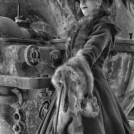 by Marco Bertamé - Black & White Portraits & People ( fur, steampunk, umbrella, lady, hat )