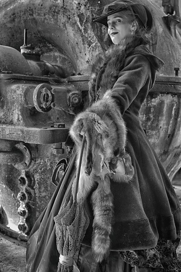 by Marco Bertamé - Black & White Portraits & People ( fur, steampunk, umbrella, lady, hat )