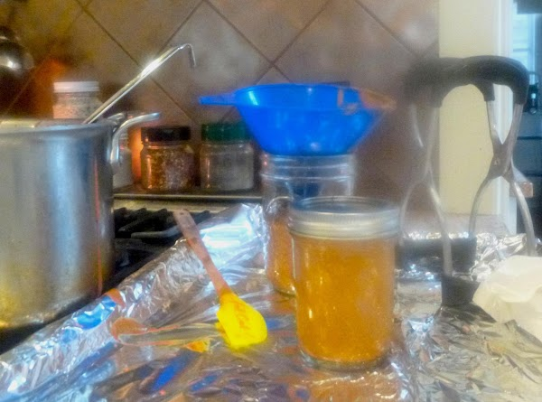 """Canning InstructionsLadle sauce into sterile, hot pint or 1/2 pint  jars leaving 1!4""""..."""