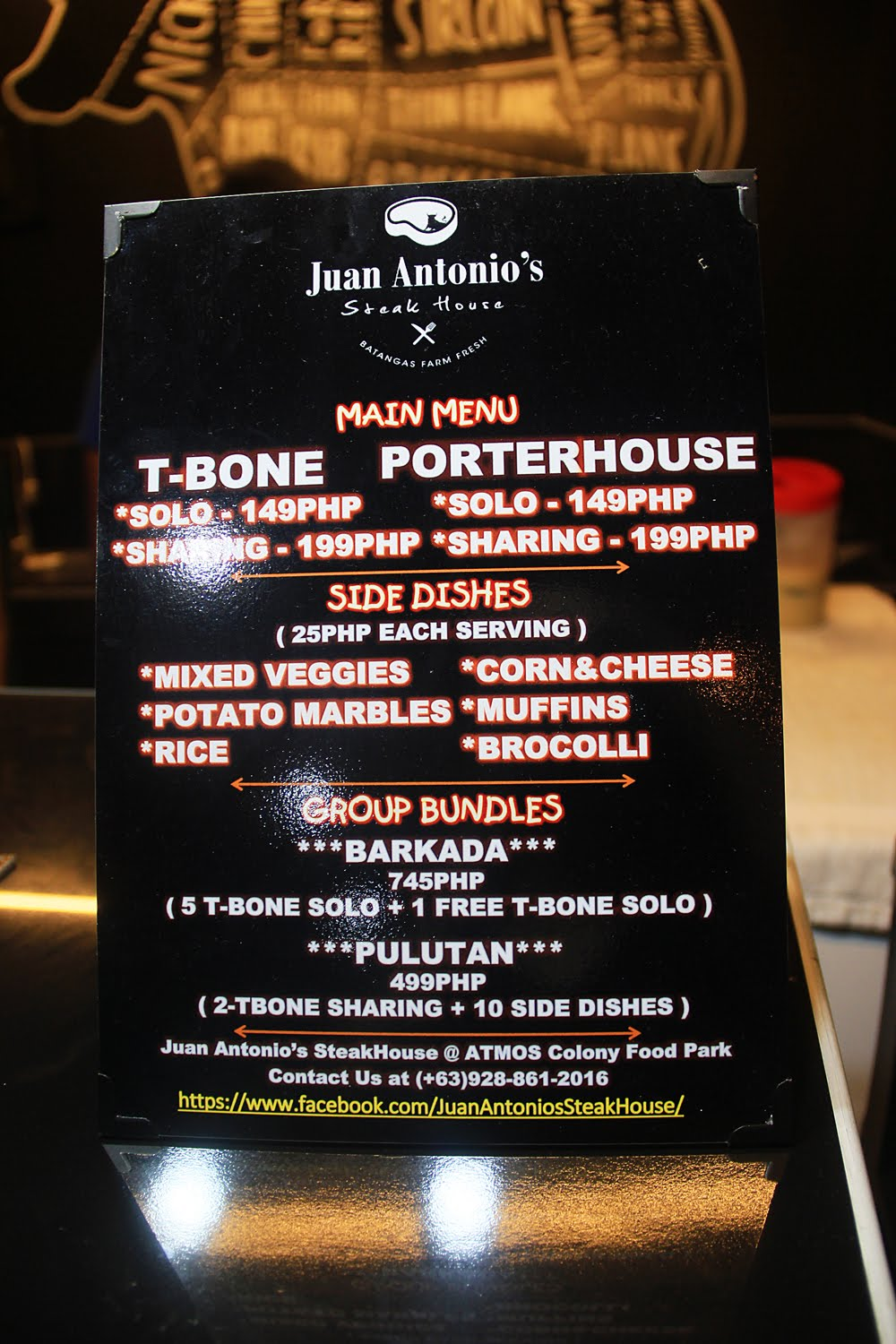 Juan Antonio Steak House Menu