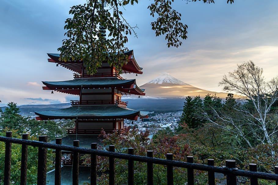 fuji, japón, volcán, montañas, cielo, país japón, pagoda roja ...