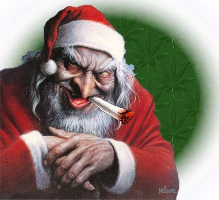 Papai Noel fumando maconha