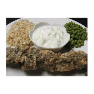 Grilled Greek Chicken Kabobs With Cucumber Sauce