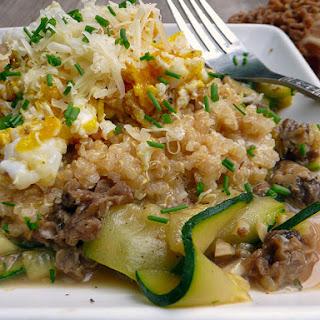 Zucchini Tagliatelle with Wild Mushrooms, Cheesy Quinoa & Egg