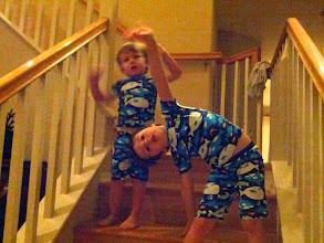 Photo: Yoga on Stairs in Matching PJs