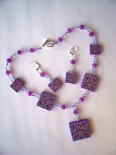 "Photo: PCS- 105 Necklace and earrings set. Polymer Clay cane deads with crystal and glass beads. 18"", $129.00"