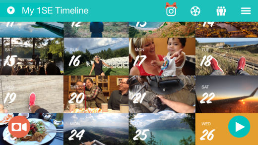 Photo of a screenshot of 1SE app timeline with a calendar of video thumbnails.