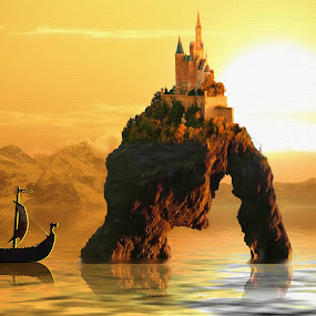 Castle on arch by Charlie Alolkoy - Illustration Places ( water, mountain, sunset, ship, cliff, sea, castle, sun )