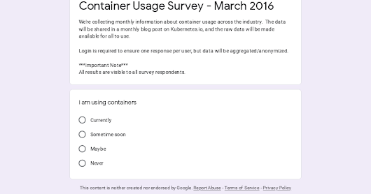 Container Usage Survey - March 2016