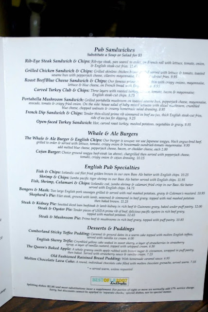 This is a photo of the menu at the Whale and Ale pub in Port San Pedro, CA.
