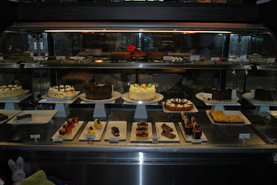 This is a photo of the dessert display case inside the Sea Beans Cafe at Terranea Resort.