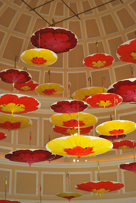 This is a photo of umbrellas hanging from the ceiling of the Bellagio Hotel and Casino, Las Vegas, NV.