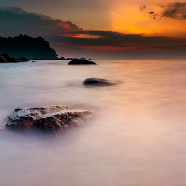 Direction To The Sun by Coolvin Tan - Landscapes Cloud Formations ( #landscape  #sunrise #seascape #cloudy #bruning, landscape )